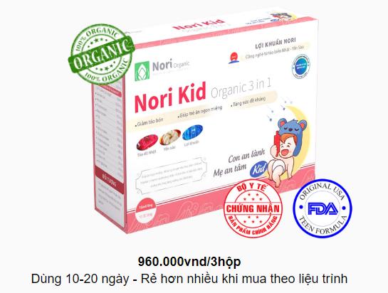 Nori Kid - là giải pháp điều trị táo bón dứt điểm ở trẻ nhỏ